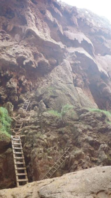 View of the climb down to Mooney Falls from the base of the falls